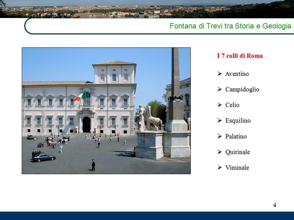 4 Fontana di Trevi tra Storia e Geologia I 7 colli di Roma  Aventino  Campidoglio  Celio  Esquilino  Palatino  Quirinale  Viminale