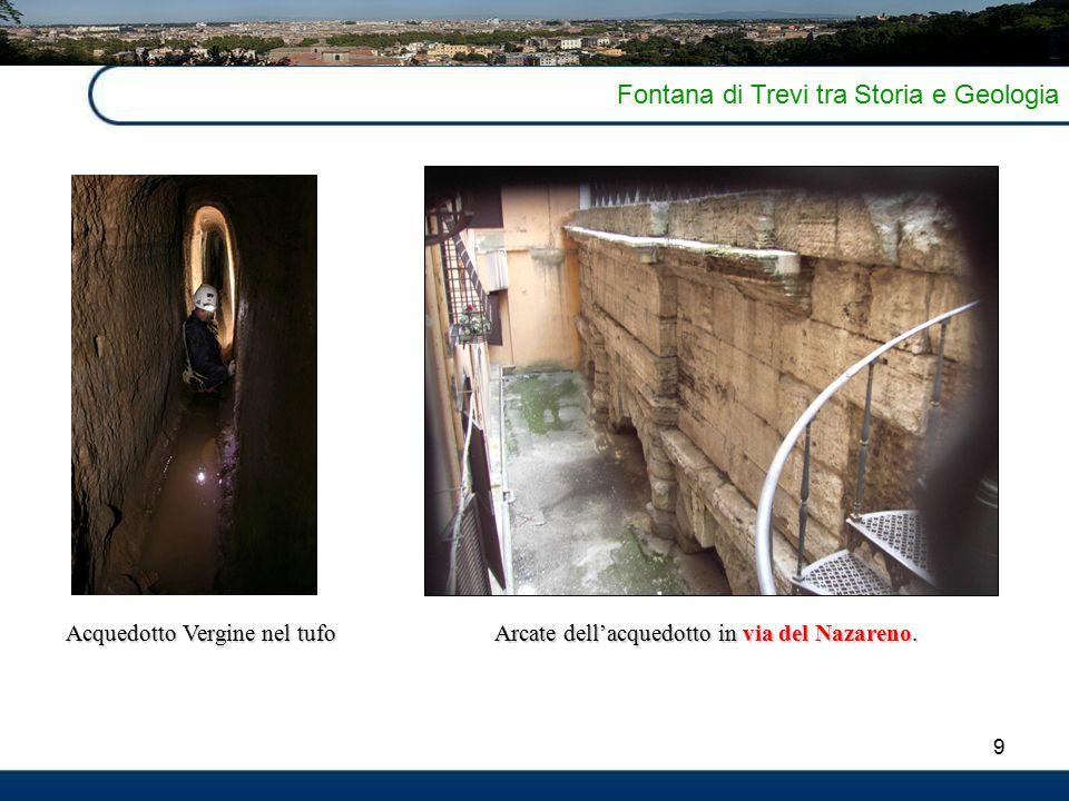 9 Fontana di Trevi tra Storia e Geologia Arcate dell'acquedotto in via del Nazareno. Acquedotto Vergine nel tufo