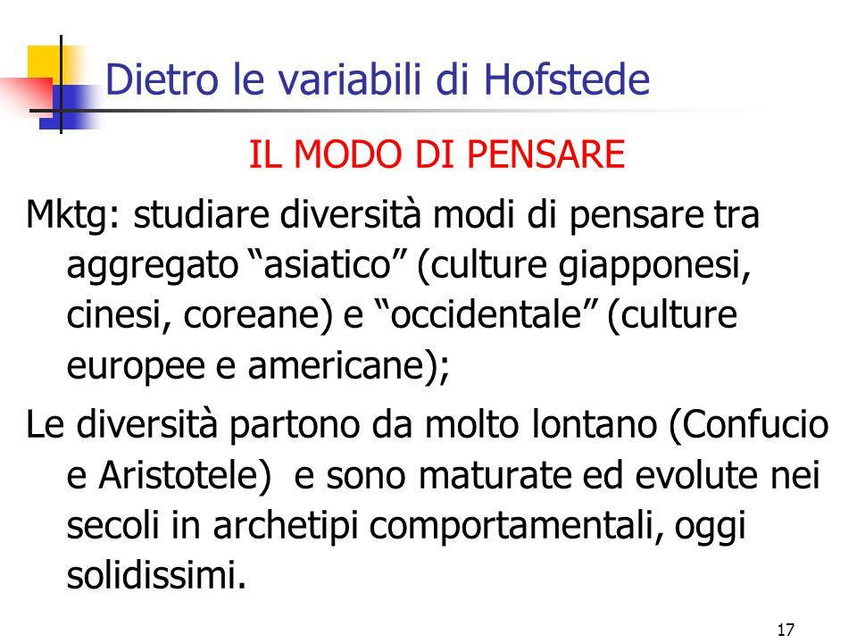 """17 Dietro le variabili di Hofstede IL MODO DI PENSARE Mktg: studiare diversità modi di pensare tra aggregato """"asiatico"""" (culture giapponesi, cinesi, c"""