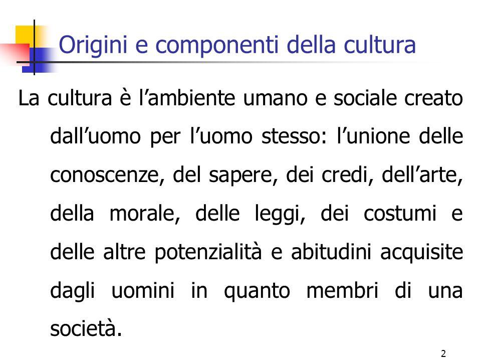 2 Origini e componenti della cultura La cultura è l'ambiente umano e sociale creato dall'uomo per l'uomo stesso: l'unione delle conoscenze, del sapere