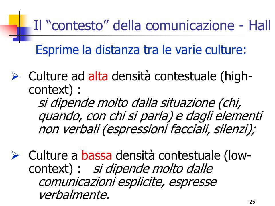 """25 Il """"contesto"""" della comunicazione - Hall Esprime la distanza tra le varie culture:  Culture ad alta densità contestuale (high- context) : si dipen"""
