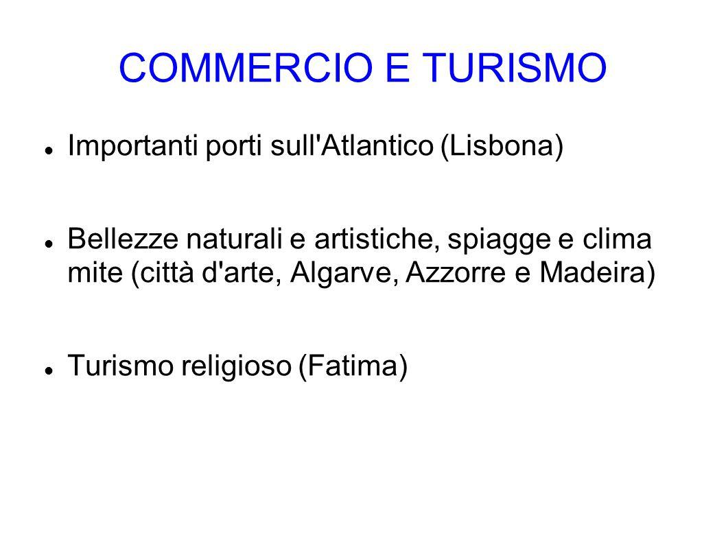 COMMERCIO E TURISMO Importanti porti sull'Atlantico (Lisbona) Bellezze naturali e artistiche, spiagge e clima mite (città d'arte, Algarve, Azzorre e M
