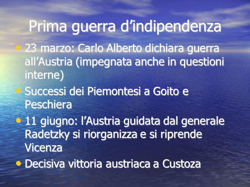 Prima guerra d'indipendenza 23 marzo: Carlo Alberto dichiara guerra all'Austria (impegnata anche in questioni interne) 23 marzo: Carlo Alberto dichiar