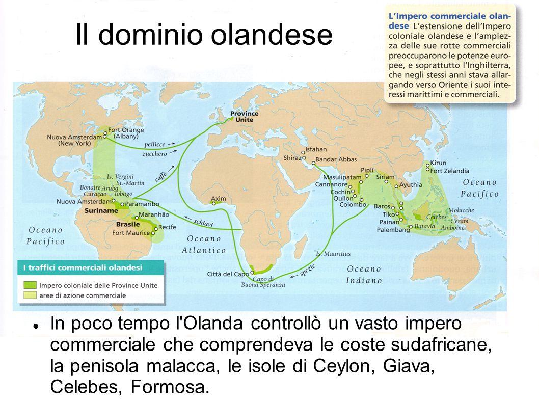 Il dominio olandese In poco tempo l'Olanda controllò un vasto impero commerciale che comprendeva le coste sudafricane, la penisola malacca, le isole d