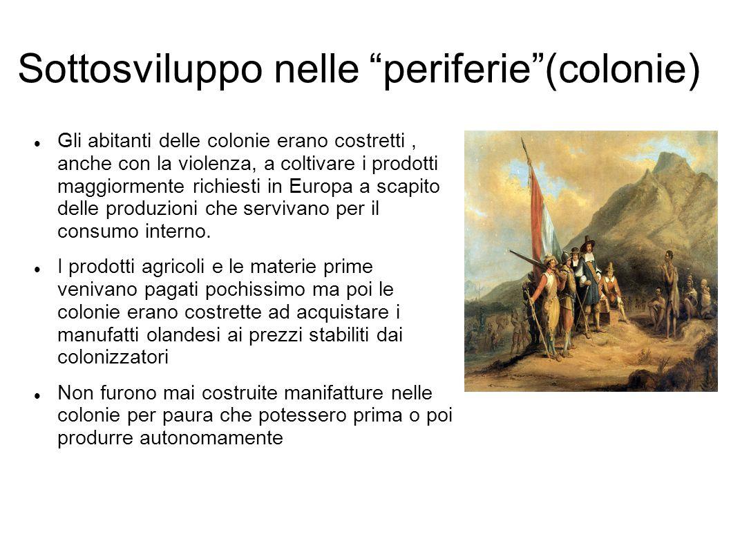 """Sottosviluppo nelle """"periferie""""(colonie) Gli abitanti delle colonie erano costretti, anche con la violenza, a coltivare i prodotti maggiormente richie"""