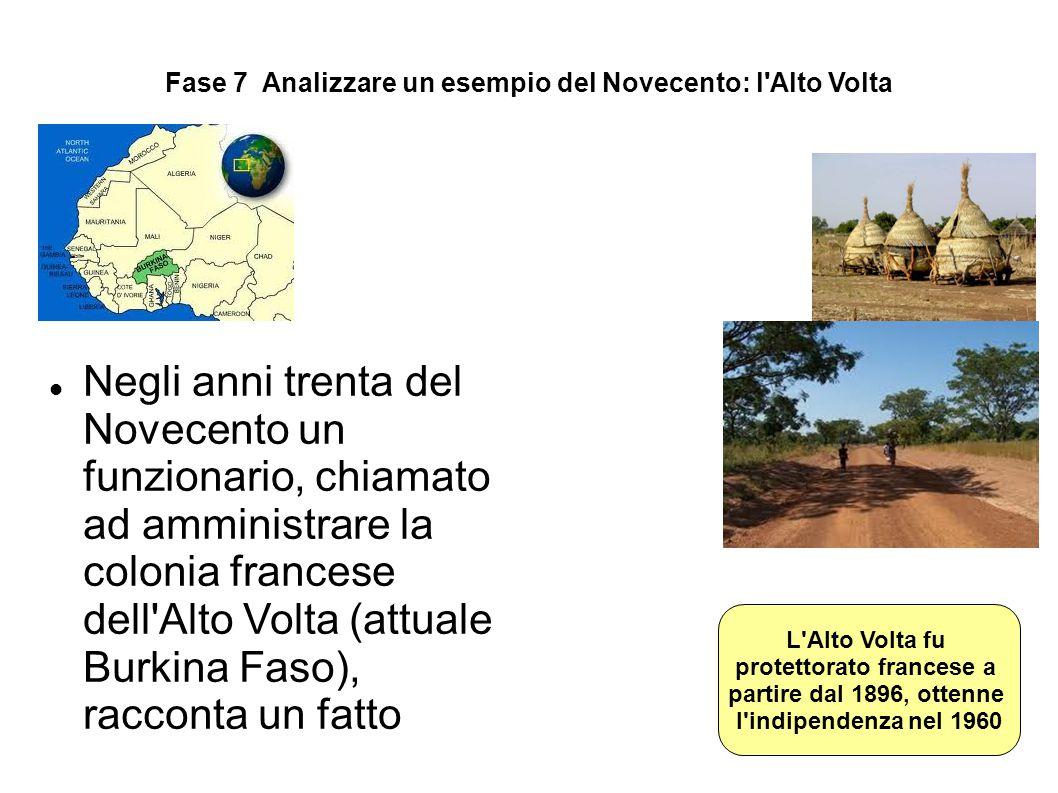 Fase 7 Analizzare un esempio del Novecento: l'Alto Volta Negli anni trenta del Novecento un funzionario, chiamato ad amministrare la colonia francese