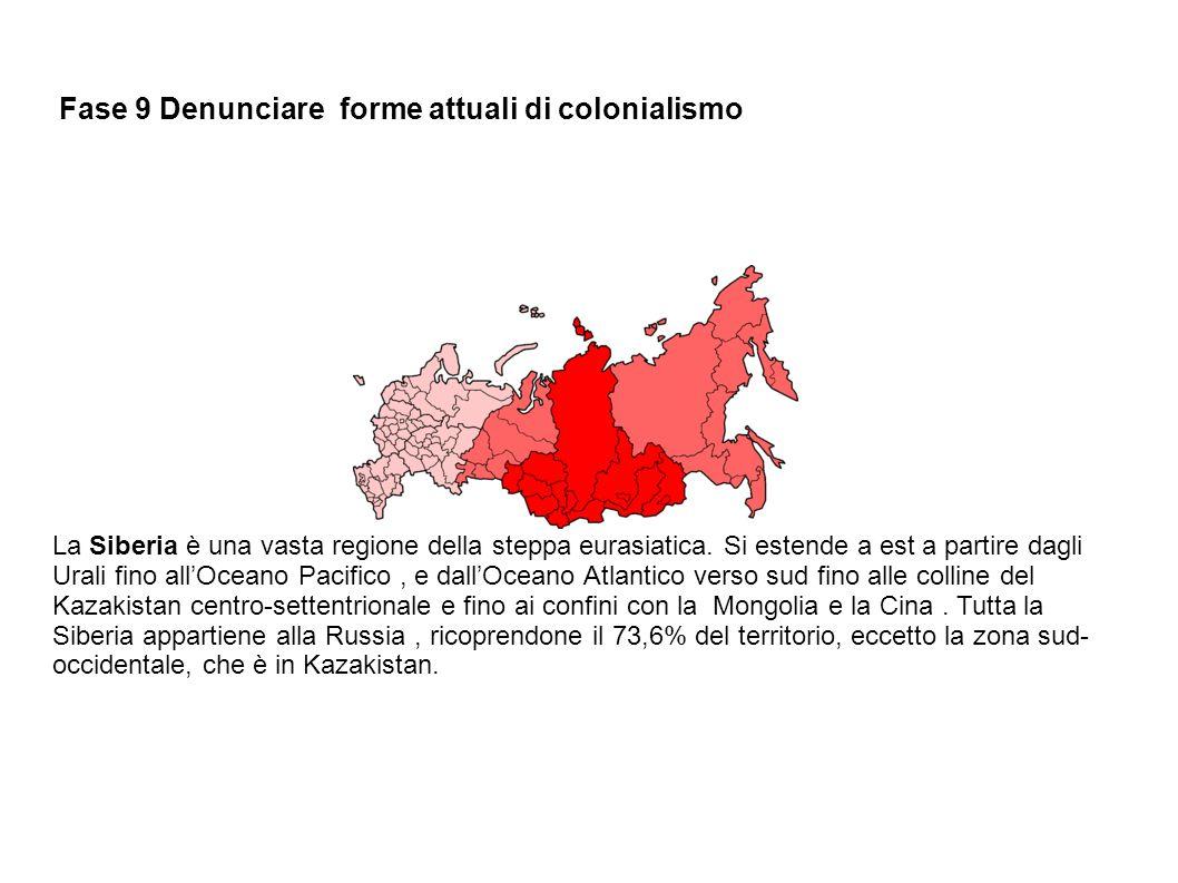 Fase 9 Denunciare forme attuali di colonialismo La Siberia è una vasta regione della steppa eurasiatica. Si estende a est a partire dagli Urali fino a