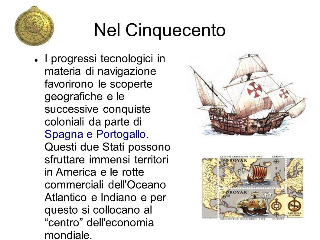 Nel Cinquecento I progressi tecnologici in materia di navigazione favorirono le scoperte geografiche e le successive conquiste coloniali da parte di S