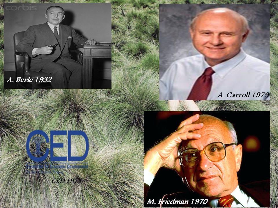 A. Berle 1932 A. Carroll 1979 M. Friedman 1970 CED 1971