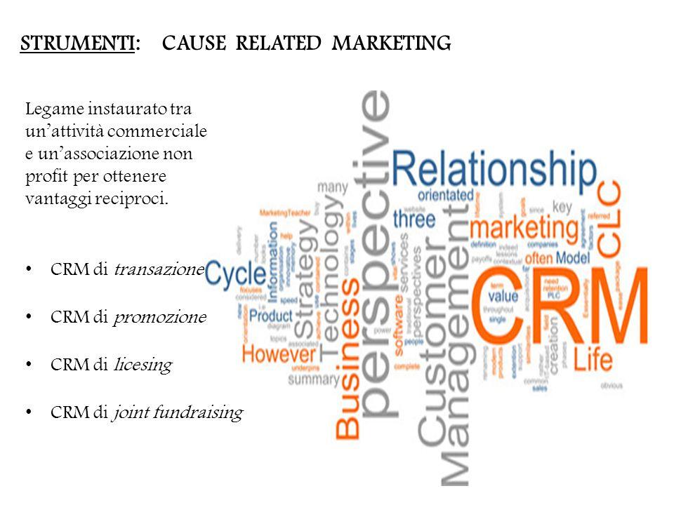 STRUMENTI: CAUSE RELATED MARKETING Legame instaurato tra un'attività commerciale e un'associazione non profit per ottenere vantaggi reciproci.