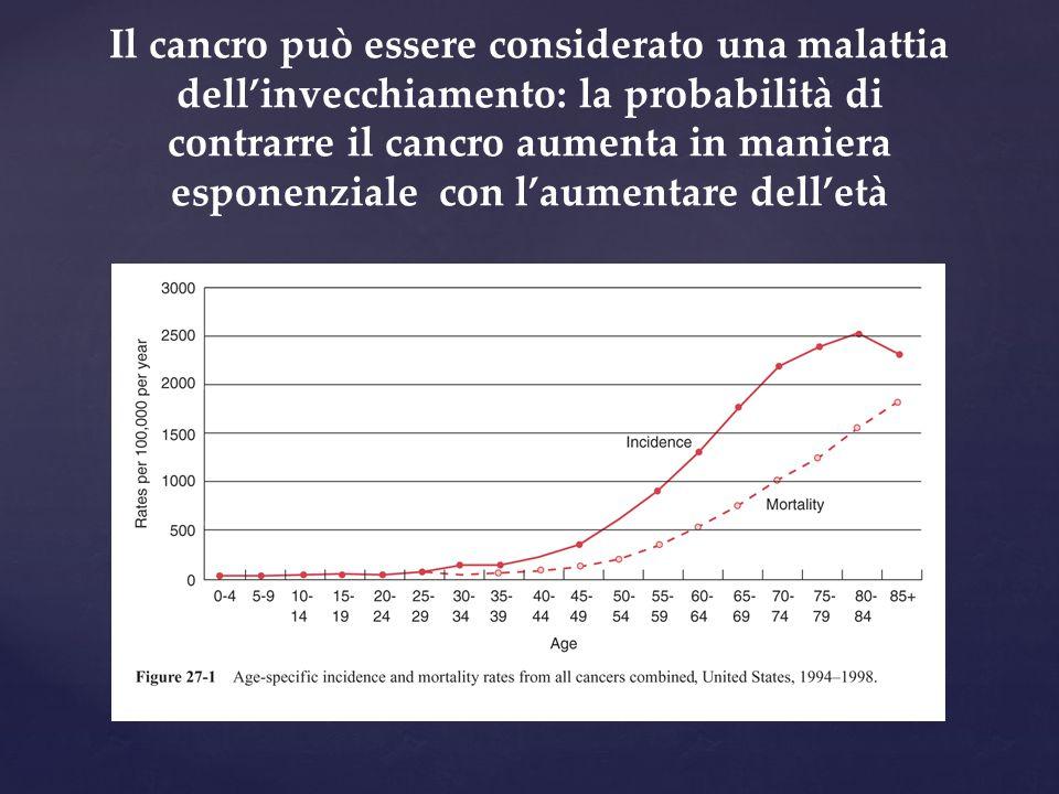 Il cancro può essere considerato una malattia dell'invecchiamento: la probabilità di contrarre il cancro aumenta in maniera esponenziale con l'aumenta
