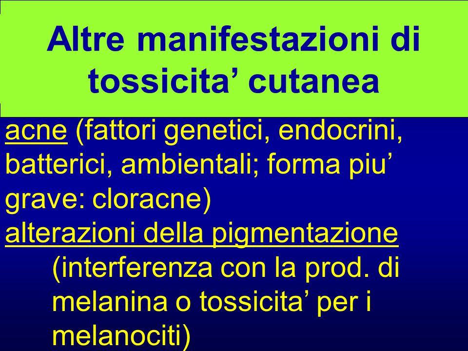 Altre manifestazioni di tossicita' cutanea acne (fattori genetici, endocrini, batterici, ambientali; forma piu' grave: cloracne) alterazioni della pig