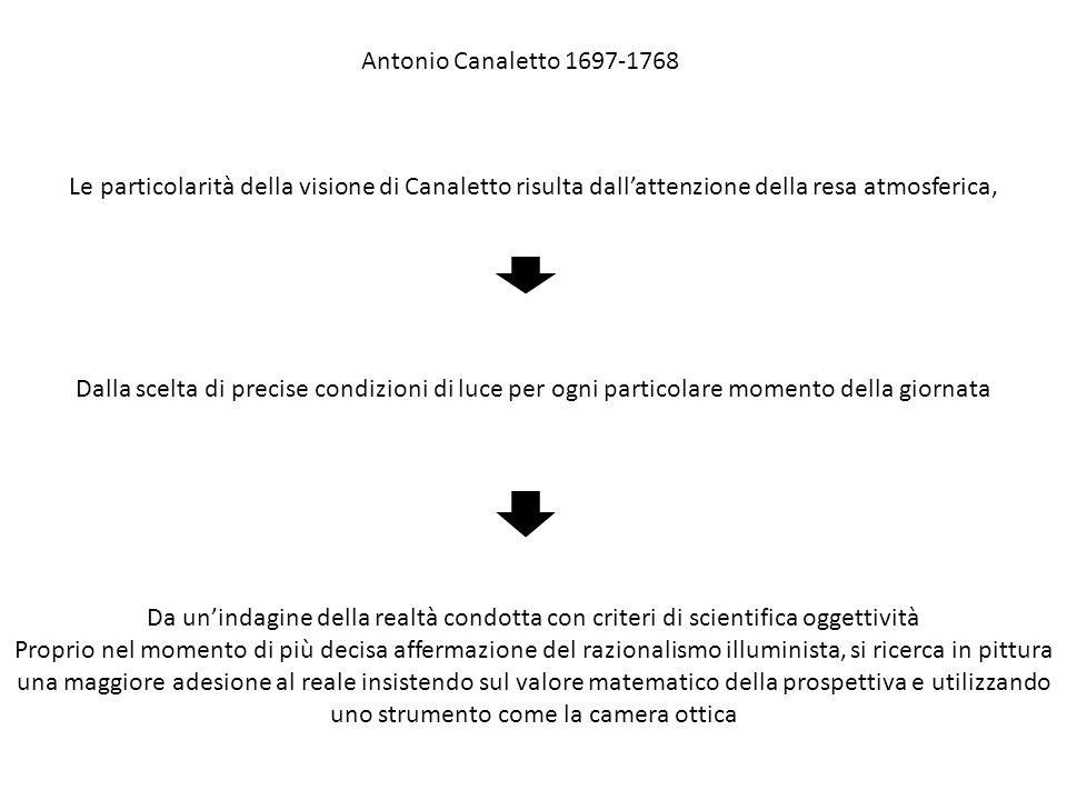 Le particolarità della visione di Canaletto risulta dall'attenzione della resa atmosferica, Dalla scelta di precise condizioni di luce per ogni partic