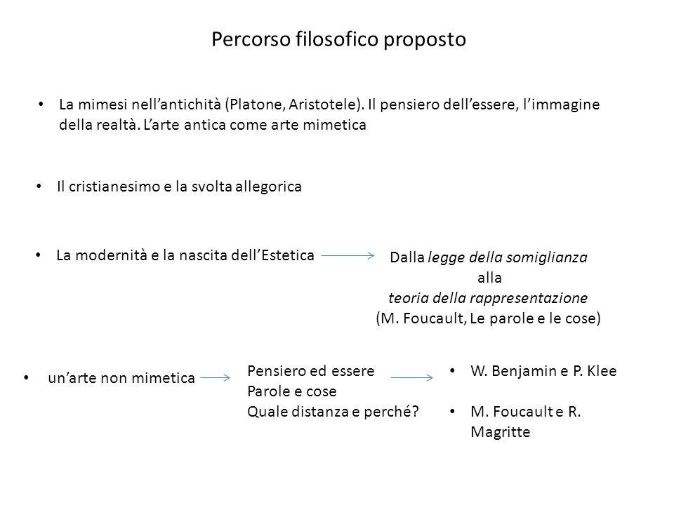 Percorso filosofico proposto La mimesi nell'antichità (Platone, Aristotele). Il pensiero dell'essere, l'immagine della realtà. L'arte antica come arte