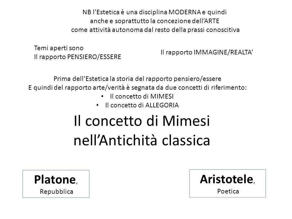 Il concetto di Mimesi nell'Antichità classica Platone, Repubblica Aristotele, Poetica NB l'Estetica è una disciplina MODERNA e quindi anche e soprattu