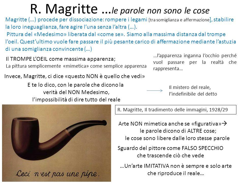 Magritte (…) procede per dissociazione: rompere i legami [tra somiglianza e affermazione ], stabilire la loro ineguaglianza, fare agire l'una senza l'
