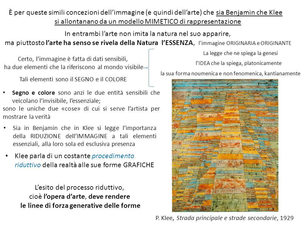 È per queste simili concezioni dell'immagine (e quindi dell'arte) che sia Benjamin che Klee si allontanano da un modello MIMETICO di rappresentazione