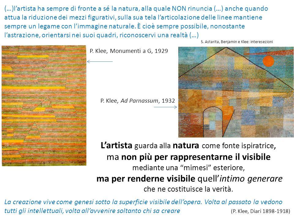 (…)l'artista ha sempre di fronte a sé la natura, alla quale NON rinuncia (…) anche quando attua la riduzione dei mezzi figurativi, sulla sua tela l'ar