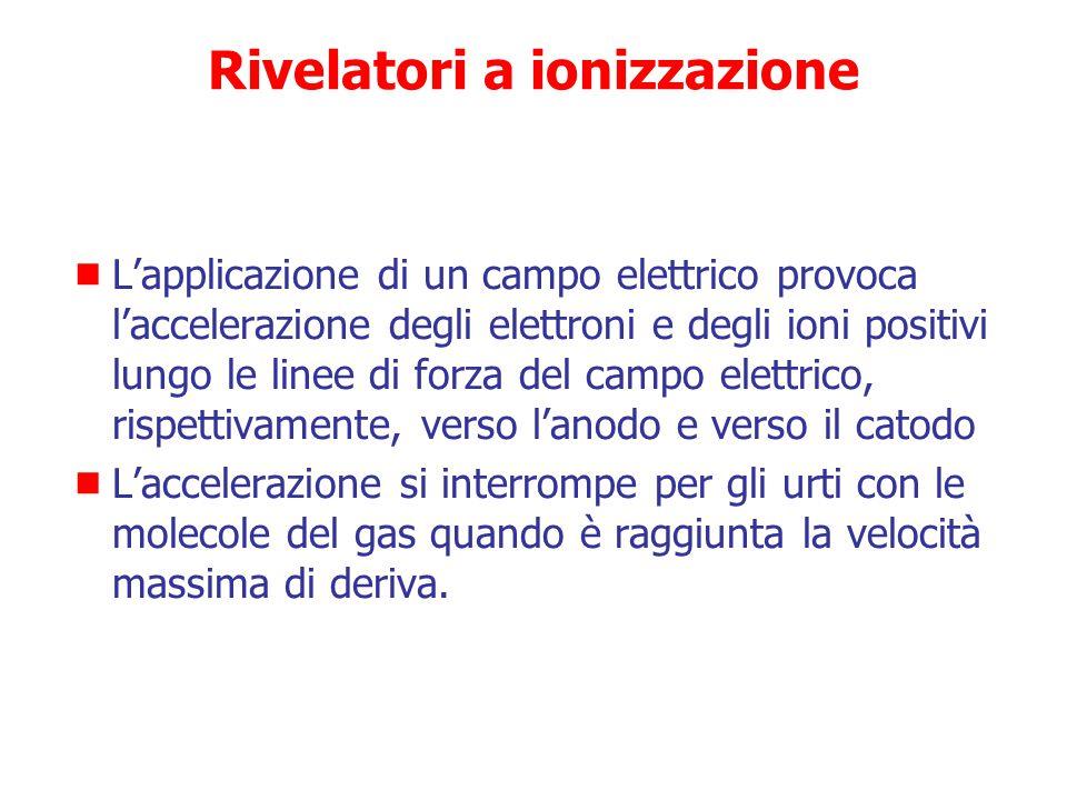 Rivelatori a ionizzazione  Ionizzazione prodotta in un gas dall'energia ceduta dalla radiazione  Il numero di coppie elettrone-ione positivo che si