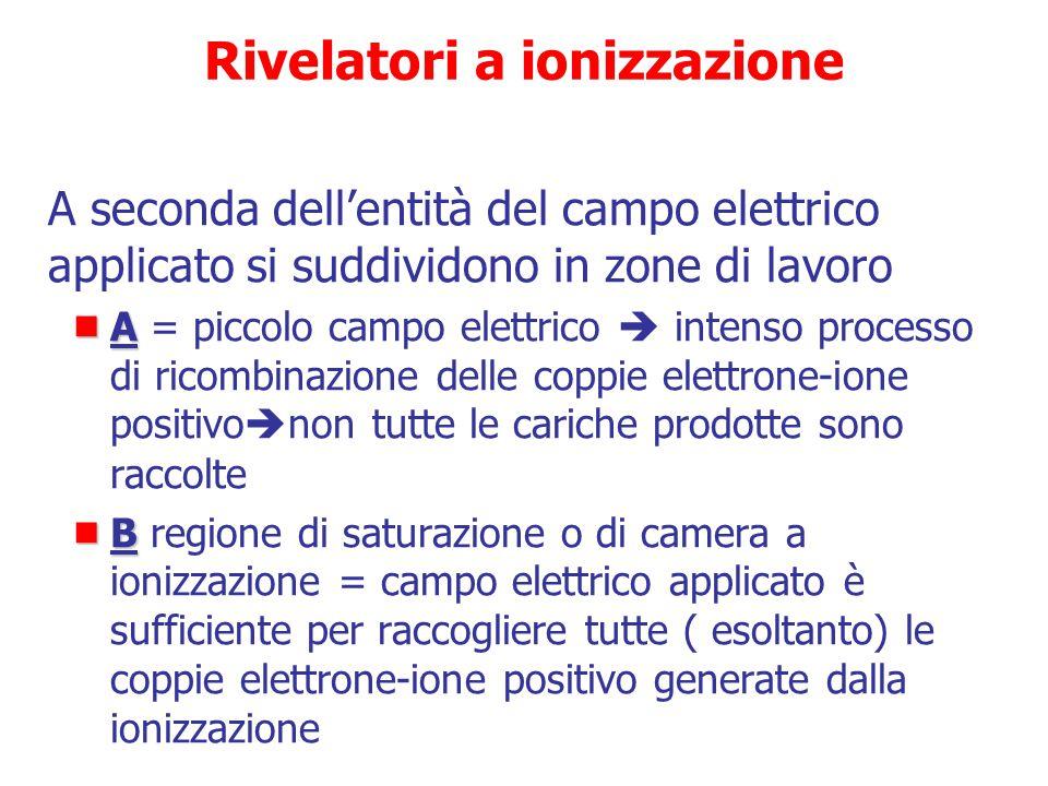 Rivelatori a ionizzazione  L'applicazione di un campo elettrico provoca l'accelerazione degli elettroni e degli ioni positivi lungo le linee di forza