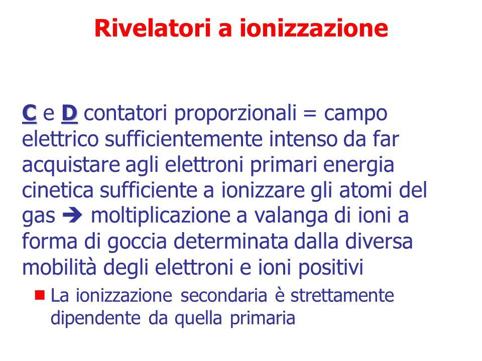 Rivelatori a ionizzazione A seconda dell'entità del campo elettrico applicato si suddividono in zone di lavoro  A  A = piccolo campo elettrico  int