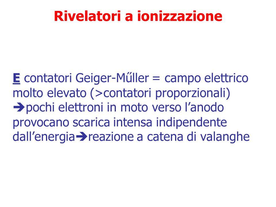 Rivelatori a ionizzazione CD C e D contatori proporzionali = campo elettrico sufficientemente intenso da far acquistare agli elettroni primari energia