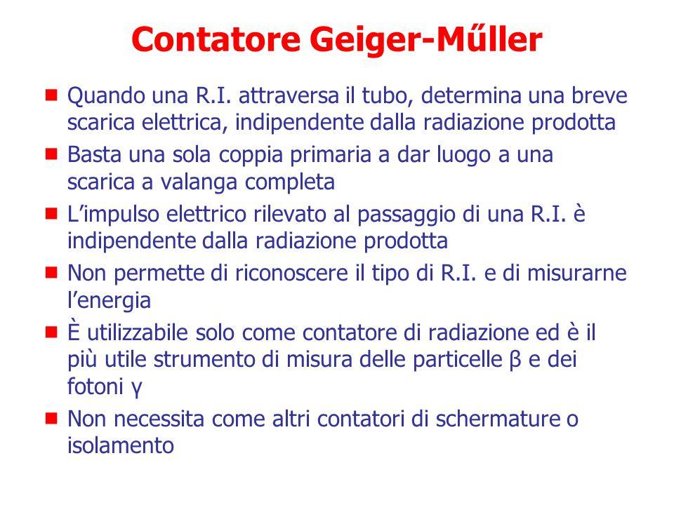 Contatore Geiger-Műller Dispositivo per il conteggio di particelle cariche (α, β, protoni…) e con opportuno convertitore anche di R. indirettamente I.
