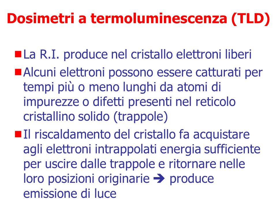 Dosimetri a termoluminescenza (TLD)  Si basano sulle proprietà di cristalli (Ca 2 F, LiF) di emettere luce se riscaldate dopo aver subito irraggiamen