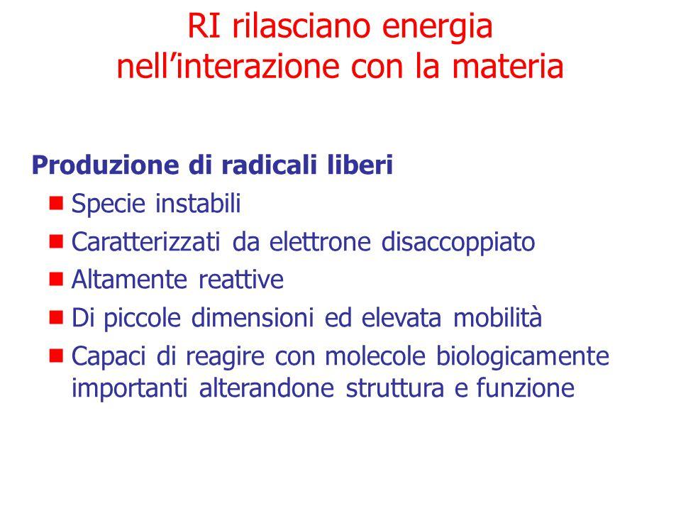 RI rilasciano energia nell'interazione con la materia Evento fisico  Ionizzazione ed eccitazione di atomi di molecole biologicamente importanti  Alt