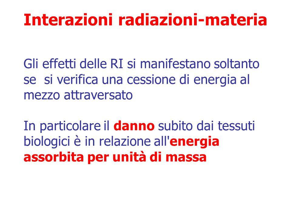 LET e RBE sono direttamente correlati  Radiazioni a basso LET hanno bassa RBE e viceversa  Raggi X usati in diagnostica hanno RBE 1 Efficacia biolog