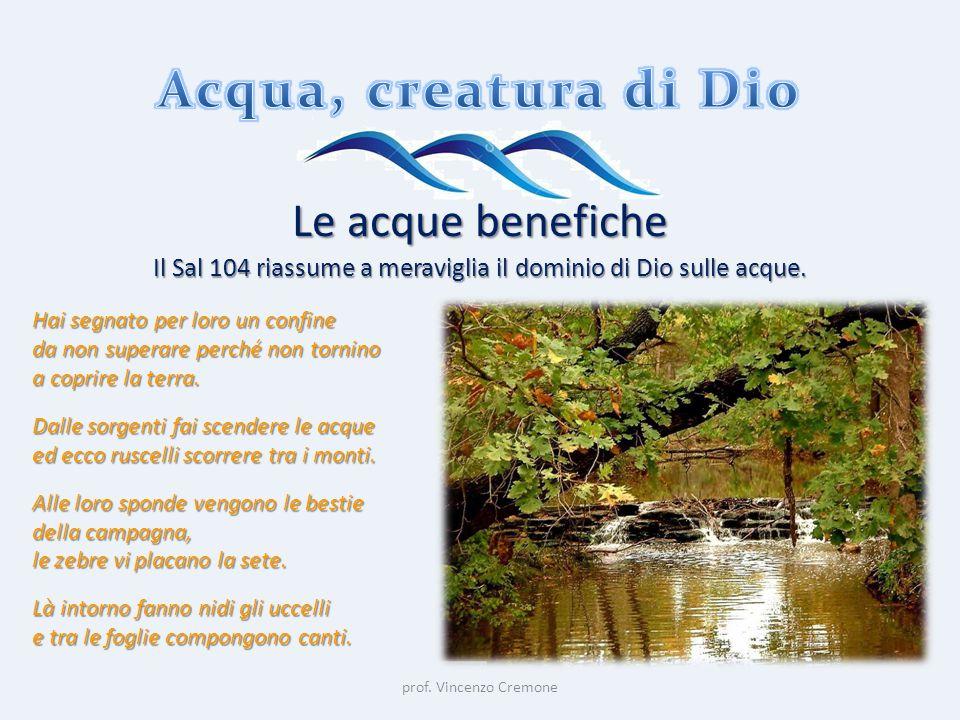 prof. Vincenzo Cremone Le acque benefiche Il Sal 104 riassume a meraviglia il dominio di Dio sulle acque. Hai segnato per loro un confine da non super