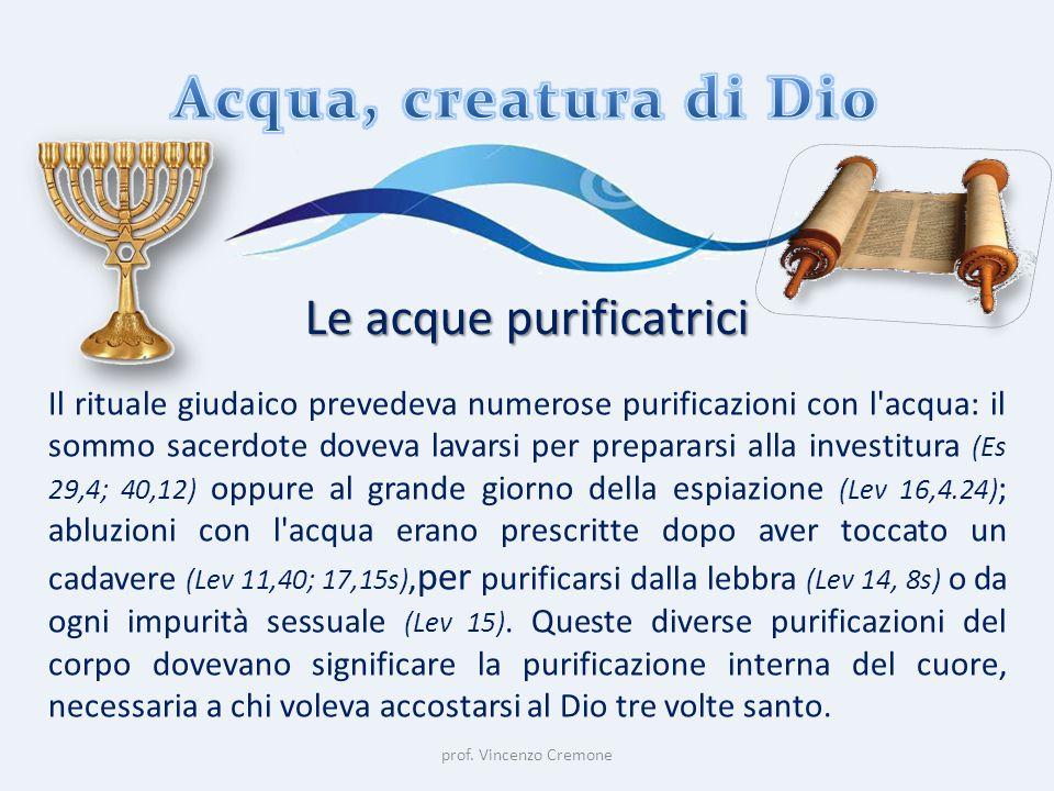 prof. Vincenzo Cremone Le acque purificatrici Il rituale giudaico prevedeva numerose purificazioni con l'acqua: il sommo sacerdote doveva lavarsi per