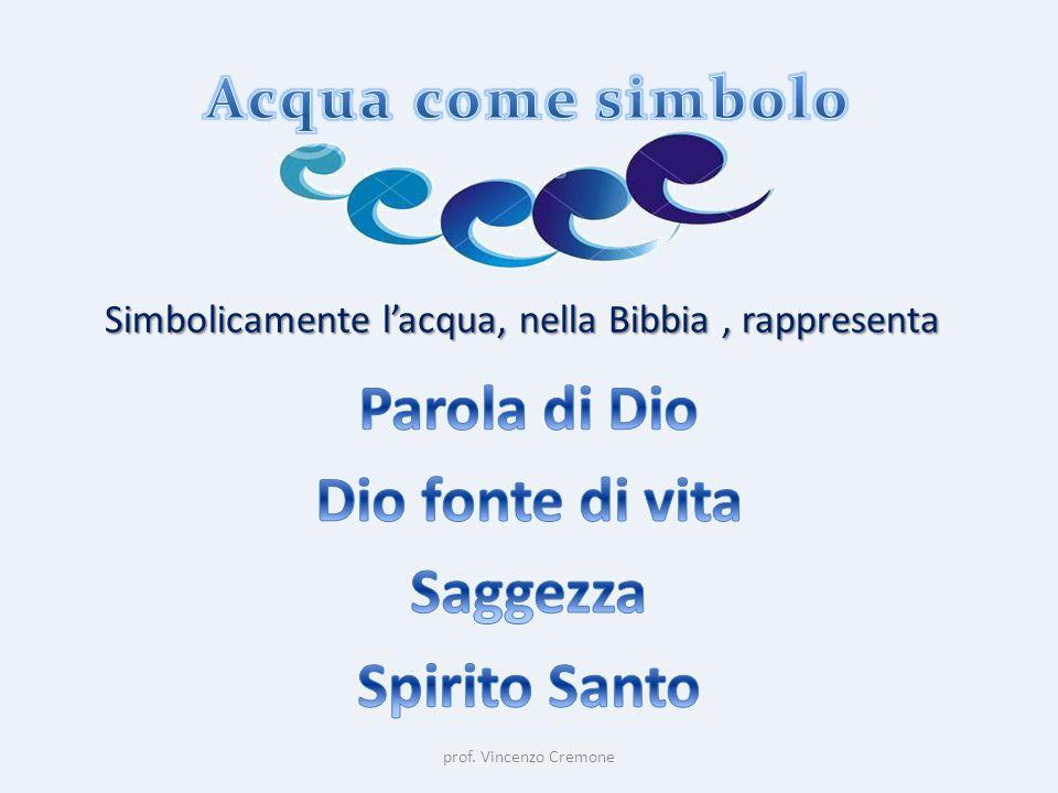 prof. Vincenzo Cremone Simbolicamente l'acqua, nella Bibbia, rappresenta