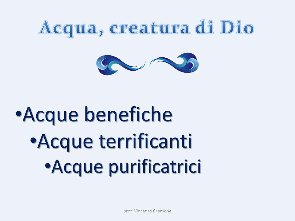 prof. Vincenzo Cremone Acque benefiche Acque benefiche Acque terrificanti Acque terrificanti Acque purificatrici Acque purificatrici