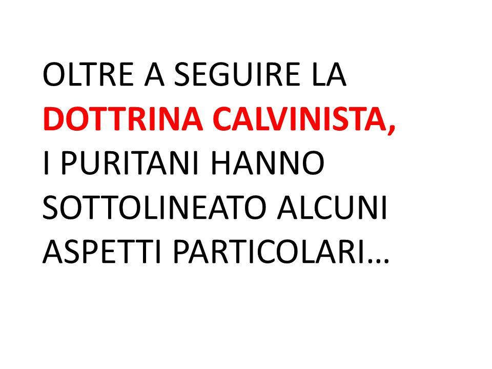 OLTRE A SEGUIRE LA DOTTRINA CALVINISTA, I PURITANI HANNO SOTTOLINEATO ALCUNI ASPETTI PARTICOLARI…