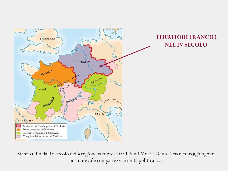 Stanziati fin dal IV secolo nella regione compresa tra i fiumi Mosa e Reno, i Franchi raggiungono una notevole compattezza e unità politica … TERRITOR