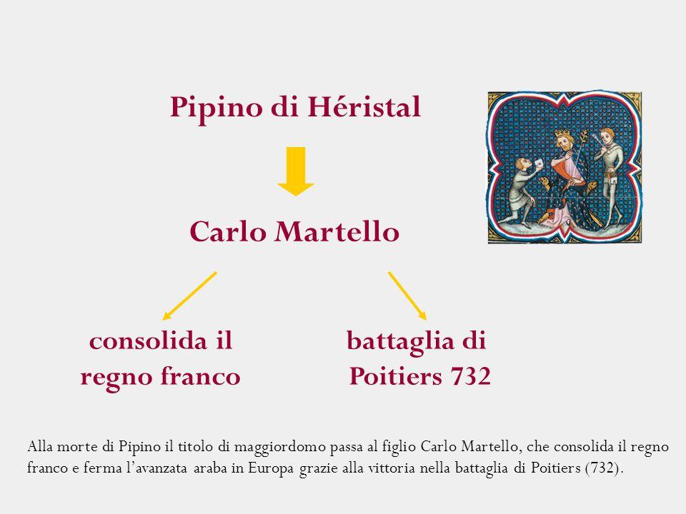 Alla morte di Pipino il titolo di maggiordomo passa al figlio Carlo Martello, che consolida il regno franco e ferma l'avanzata araba in Europa grazie