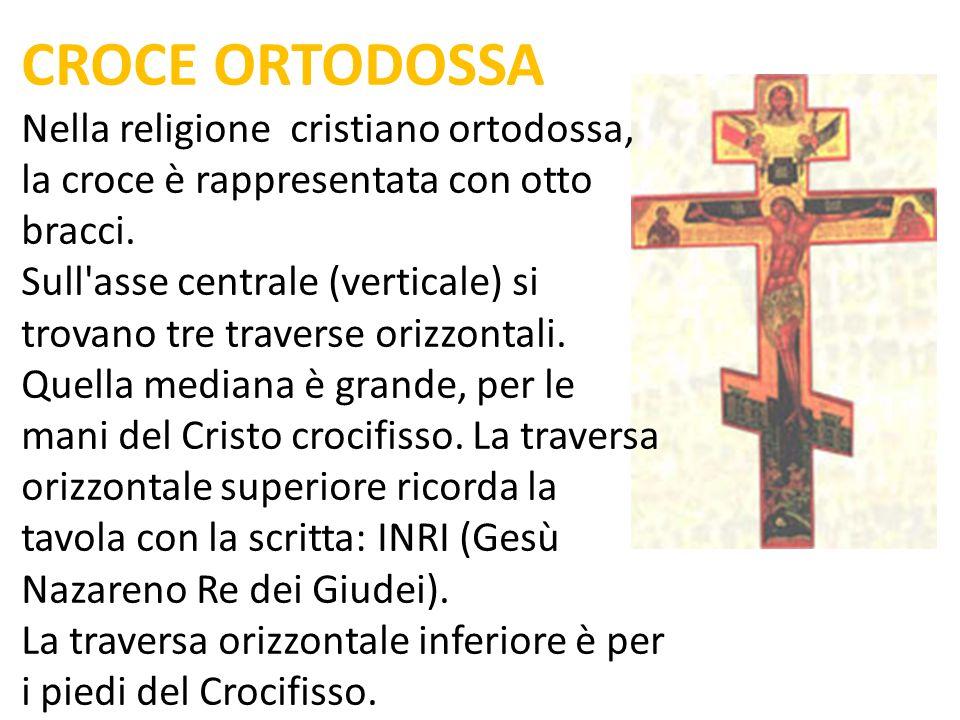 CROCE ORTODOSSA Nella religione cristiano ortodossa, la croce è rappresentata con otto bracci. Sull'asse centrale (verticale) si trovano tre traverse