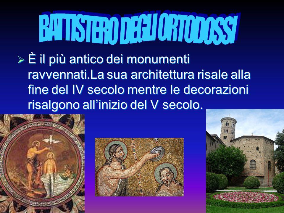  È il più antico dei monumenti ravvennati.La sua architettura risale alla fine del IV secolo mentre le decorazioni risalgono all'inizio del V secolo.