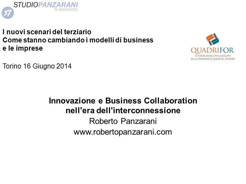 Innovazione e Business Collaboration nell'era dell'interconnessione Roberto Panzarani www.robertopanzarani.com I nuovi scenari del terziario Come stan