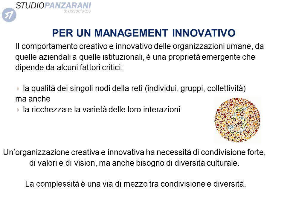 PER UN MANAGEMENT INNOVATIVO Il comportamento creativo e innovativo delle organizzazioni umane, da quelle aziendali a quelle istituzionali, è una prop