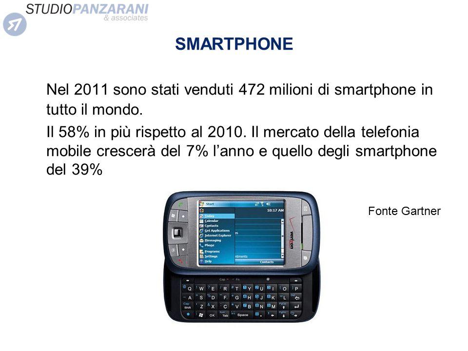 SMARTPHONE Nel 2011 sono stati venduti 472 milioni di smartphone in tutto il mondo. Il 58% in più rispetto al 2010. Il mercato della telefonia mobile