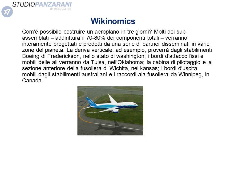 Wikinomics Com'è possibile costruire un aeroplano in tre giorni? Molti dei sub- assemblati – addirittura il 70-80% dei componenti totali – verranno in