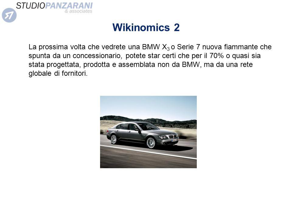 Wikinomics 2 La prossima volta che vedrete una BMW X 3 o Serie 7 nuova fiammante che spunta da un concessionario, potete star certi che per il 70% o q