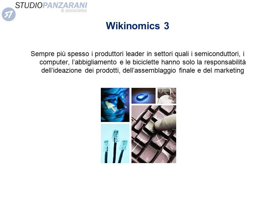 Wikinomics 3 Sempre più spesso i produttori leader in settori quali i semiconduttori, i computer, l'abbigliamento e le biciclette hanno solo la respon