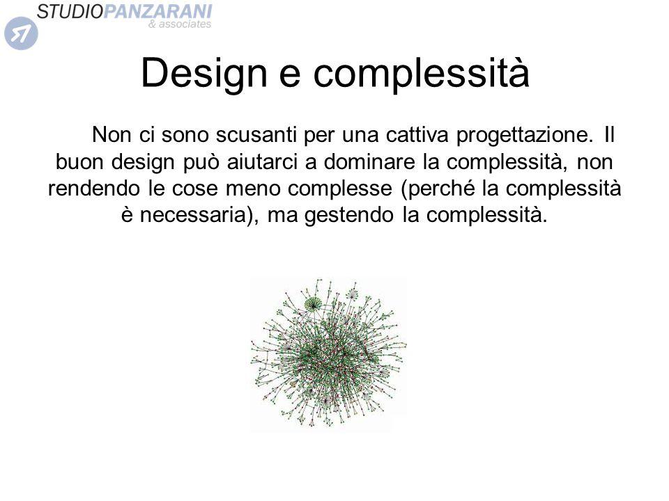 Design e complessità Non ci sono scusanti per una cattiva progettazione. Il buon design può aiutarci a dominare la complessità, non rendendo le cose m