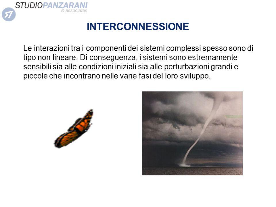 INTERCONNESSIONE Le interazioni tra i componenti dei sistemi complessi spesso sono di tipo non lineare. Di conseguenza, i sistemi sono estremamente se
