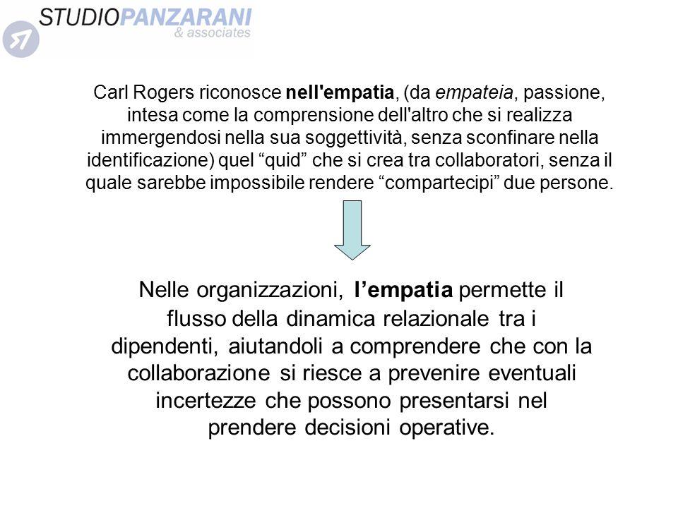 Carl Rogers riconosce nell'empatia, (da empateia, passione, intesa come la comprensione dell'altro che si realizza immergendosi nella sua soggettività