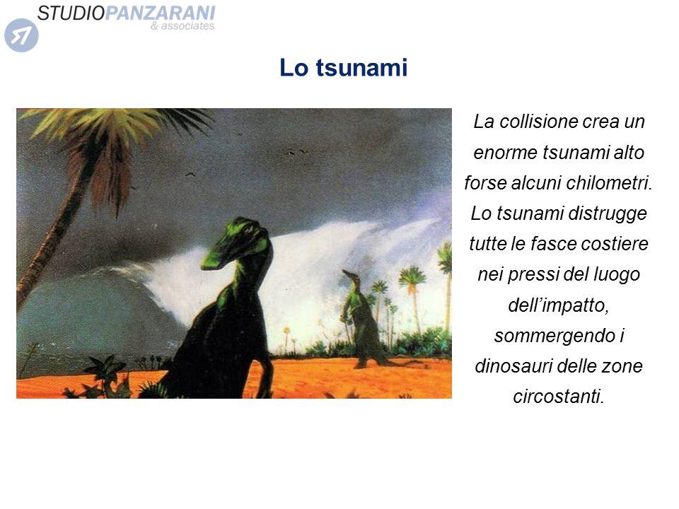 La collisione crea un enorme tsunami alto forse alcuni chilometri. Lo tsunami distrugge tutte le fasce costiere nei pressi del luogo dell'impatto, som