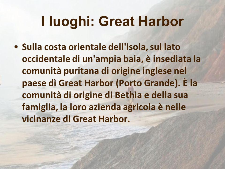 Sulla costa orientale dell'isola, sul lato occidentale di un'ampia baia, è insediata la comunità puritana di origine inglese nel paese dì Great Harbor